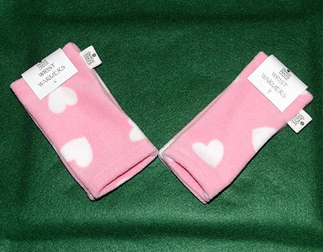 Baby Pink Hearts Wrist Warmers